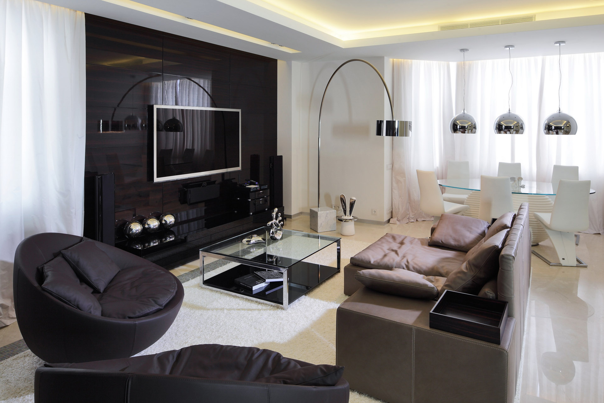 Beautiful-Modern-Living-Room-Design-with-Sofa-Bed-and-Glass-Table-Idea-feat-Black-Ball-Chair-Among-with-Flatscreen-TV-Plus-White-Rug-Also-Flooring-Arch-Lamp-Decoration-Ideas