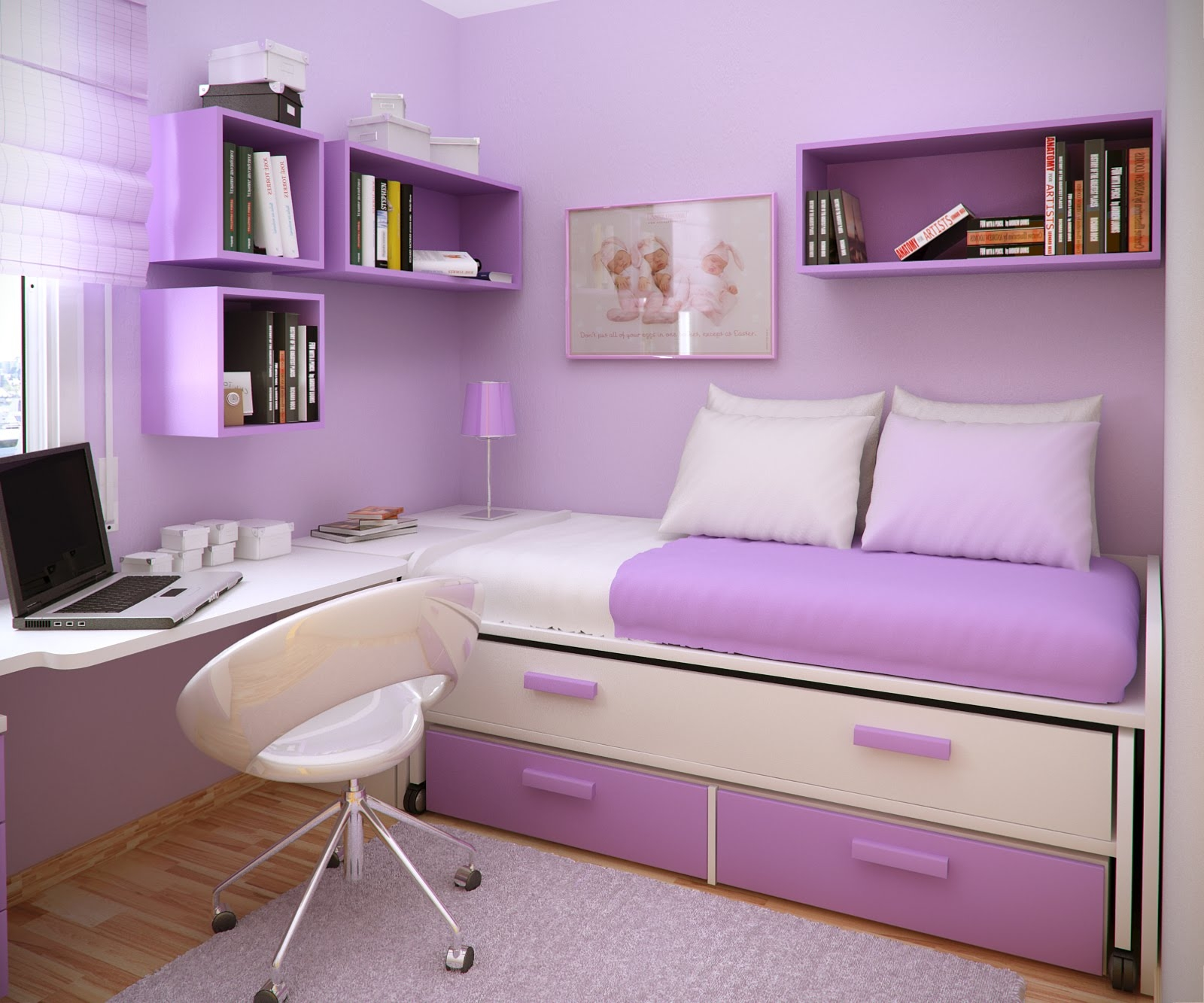 bedroom-interior-romantic-purple-wall-paint-best-wall-color-for-bedroom-design-ideas-with-stunning-white-purple-day-bed-and-beautiful-open-book-shelves-also-cool-white-study-table-plus-cozy-white-whe-
